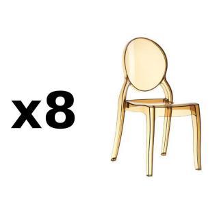 Lot de 8 chaises médaillon IMPÉRATRICE style Louis XVI en polycarbonate coloris champagne