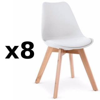 Lot de 8 chaises OSLO design scandinave piétement en hêtre