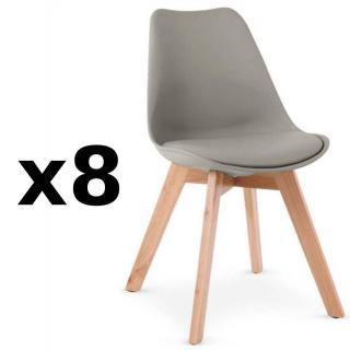 Lot de 8 chaises OSLO grise design scandinave piétement en hêtre