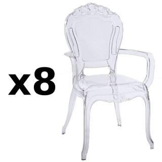 Lot de 8 fauteuils design NAPOLEON en polycarbonate transparent