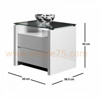 Table de chevet laque blanc brillant finest table de - Table de chevet laque blanc brillant ...
