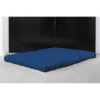 Matelas FUTON DOUBLE LATEX bleu royal longueur couchage 200cm épaisseur 18cm