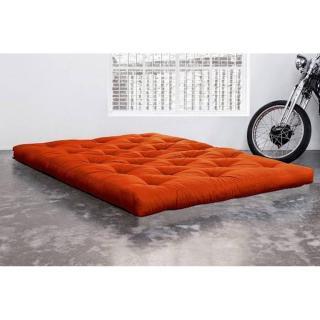 Matelas FUTON DOUBLE LATEX orange longueur couchage 200cm épaisseur 18cm
