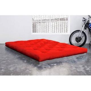 Matelas FUTON DOUBLE LATEX rouge longueur couchage 200cm épaisseur 18cm