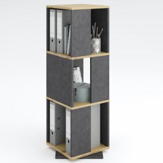 Étagère pivotante de rangement TOULOUSE coloris gris anthracite matera et chêne artisan 3 compartiments