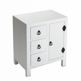 MATMATA chevet blanc en bois 3 tiroirs 1 porte