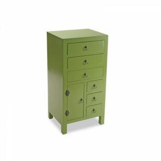 MATMATA Chiffonnier bois 6 tiroirs 1 porte vert