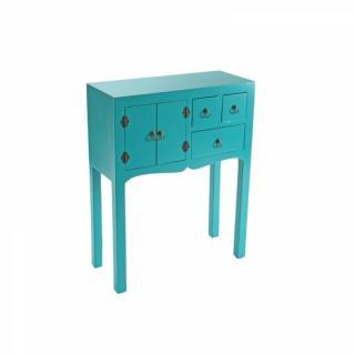 MATMATA petite console design turquoise en bois 3 tiroirs 2 portes