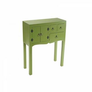 MATMATA petite console design vert en bois 3 tiroirs 2 portes