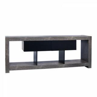 NARA meuble tv design béton avec 2 tiroirs