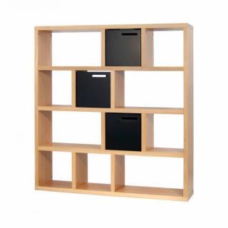 TemaHome BERLIN bibliothèque étagère chêne avec 3 boites de rangements