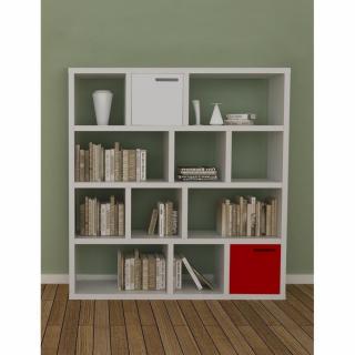 Tema Home BERLIN bibliothèque étagère blanche mate avec 2 boites