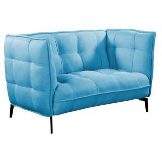 Canapé 2 places style scandinave MELDOLA tissu tweed bleu azur