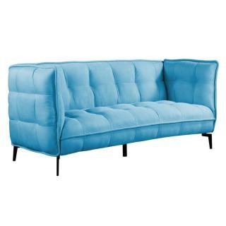 Canapé 3 places style scandinave MELDOLA tissu tweed bleu azur