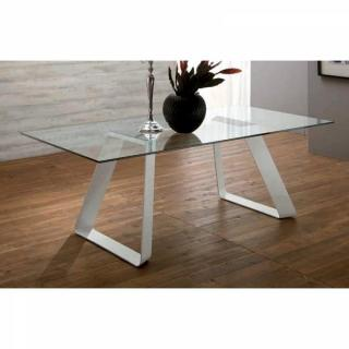 MELODIE II Table repas plateau en verre piétement blanc