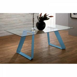 MELODIE II Table repas plateau en verre piétement bleu