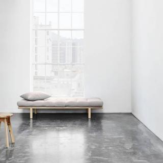 Méridienne PACE en pin naturel matelas futon taupe clair couchage 75*200cm