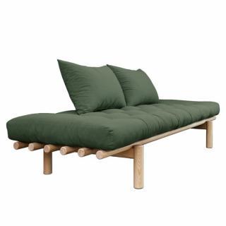 Méridienne futon HEDDA en pin coloris vert olive couchage 75*200 cm.