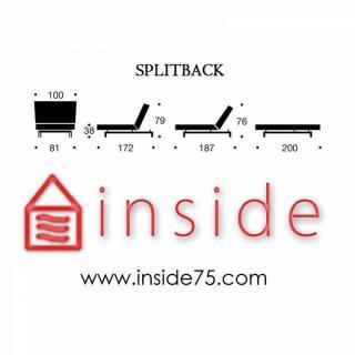 INNOVATION LIVING Meridienne design SPLITBACK LOUNGER convertible lit 100*200cm piétement fuseau noyer