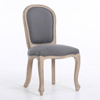 Chaise médaillon MEROVEE style louis XVI lin gris