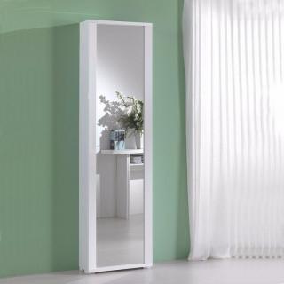 Meuble à chaussures MILLENIUM blanc avec porte miroir