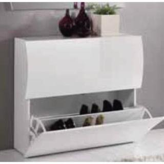meubles chaussures meubles et rangements meuble chaussures vague 2 portes blanc brillant. Black Bedroom Furniture Sets. Home Design Ideas