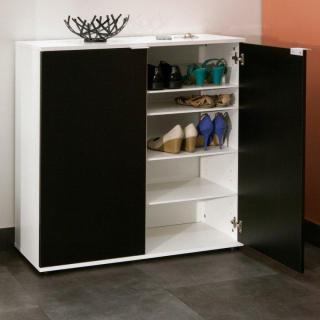 Meuble à chaussures CLASS design blanche 2 portes noires