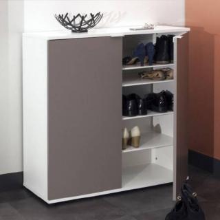 Meuble à chaussures CLASS design blanche 2 portes taupe