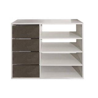Meuble à chaussures MIRAGE blanc design 4 tiroirs aspect béton