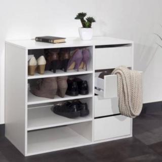 Meuble à chaussures MIRAGE 4 tiroirs blanc