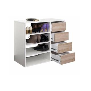 Meuble à chaussures MIRAGE blanc design 4 tiroirs chêne