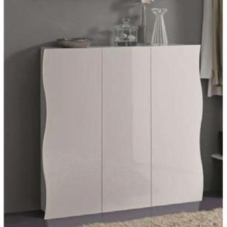 meubles chaussures meubles et rangements meuble chaussures vague blanc brillant 3 portes. Black Bedroom Furniture Sets. Home Design Ideas