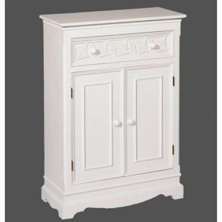 Meuble 2 portes 1 tiroir LOUISE blanc