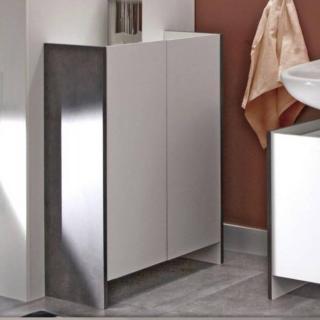 Meuble de salle de bain DOVA 2 portes blanches et béton
