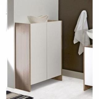 Meuble de salle de bain DOVA  2 portes blanches et chêne