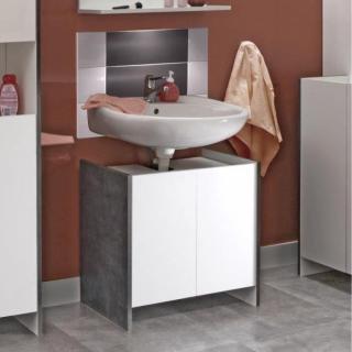 Meuble sous-vasque DOVA design effet béton 2 portes blanches