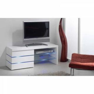 Meuble TV LEON, blanc brillant et lumière LED