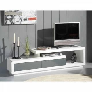 Meuble TV SEVILLE blanc, 2 tiroirs gris anthracite