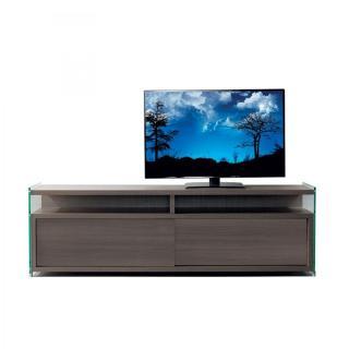 Meuble TV TALAC noyer 180cm 2 portes coulissantes