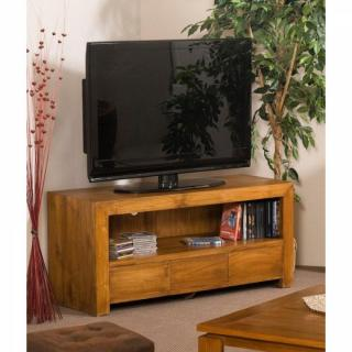 meubles tv meubles et rangements meuble tv 120cm 3 tiroirs colonial en teck massif inside75. Black Bedroom Furniture Sets. Home Design Ideas