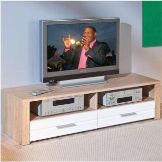 Meuble TV ABSOLUTO 2 tiroirs et 2 niches en bois blanc brillant et chene