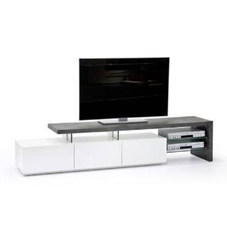 Meuble TV design ALRIK 3 tiroirs laqué blanc mat et béton