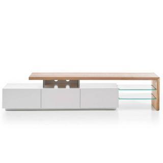 Meuble TV design ALRIK 3 tiroirs structure laquée blanc mat plateau décor chêne