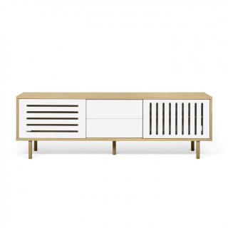 Meuble TV ALVIN chêne avec 2 portes coulissantes 2 tiroirs LARGE