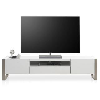 Meuble TV ALBERTVILLE laque blanc mat 2 portes 1 tiroir