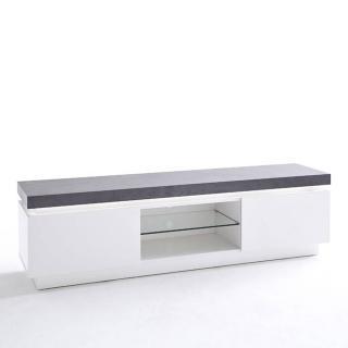Meuble TV design ATLANTIS laqué blanc mat et béton 2 portes LED blanc inclus