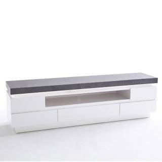 Meuble TV design ATLANTA finition laquée blanc mat et imitation béton 5 tiroirs LED inclus