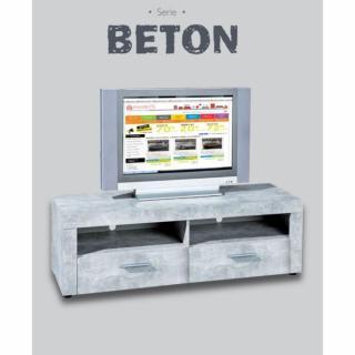 Meuble TV 2 tiroirs et 2 niches aspect béton