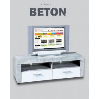 Meuble TV 2 tiroirs et 2 niches aspect béton et blanc
