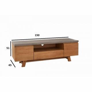 Meuble tv design industriel NINO en chêne plateau en béton
